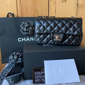 Chanel Black Lambskin Mini Rectangular Flap